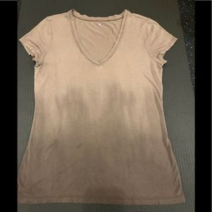 Three Dot | Ombre Brown v-neck T-shirt